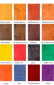 Transtint Concentrated Wood Dye Color Chart