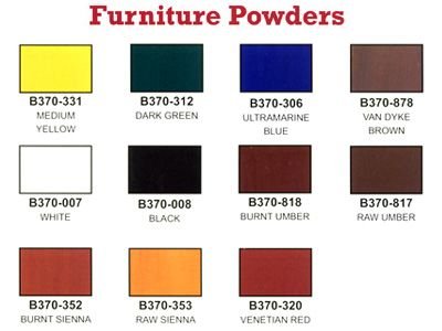 Behlen Furniture Powders Color Chart