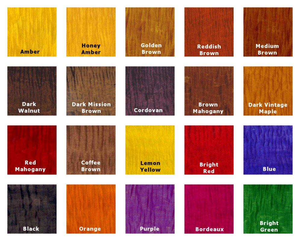 Transtint Wood Dye Color Chart Color Wood Glue Amp Fillers