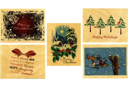 Wooden Christmas Cards