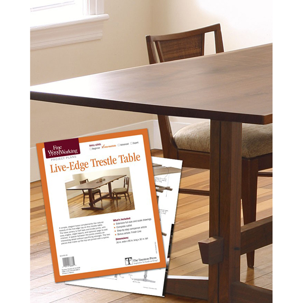 Live edge trestle table plan taunton woodworking plans for Email table design
