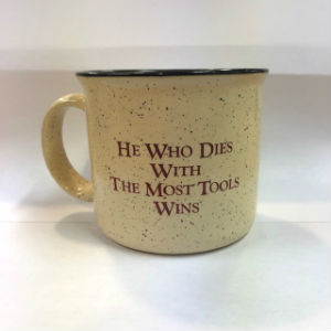 White He Who Dies Most Tools Wins Mug 105509