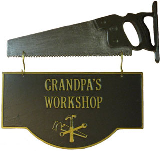 Grandpa's Workshop Sign with Saw Hanger 198504
