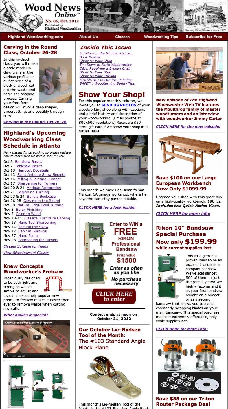 Wood News Online woodworking magazine