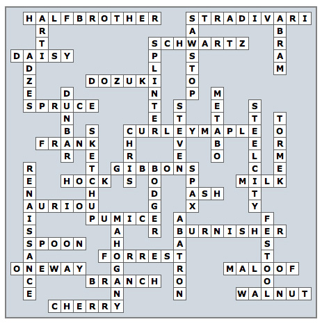 Woodworking Crossword Puzzle