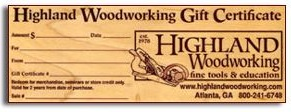 Highland Woodworking Gift Certificate