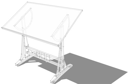 Designing a draftsman 39 s table with sketchup for Table design sketchup