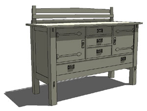 SketchUp Model of Large Stickley Sideboard
