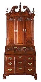 "Six-shell Secretary, Newport, R.I., c 1760-1775/2005, by Gregory W. Guenther: Mahogany, poplar & pine; 103 x 42 1/2 x 25 3/4""; On loan from private owner."