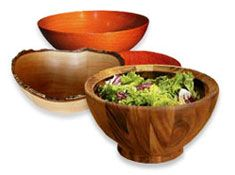 Turned wood salad bowls