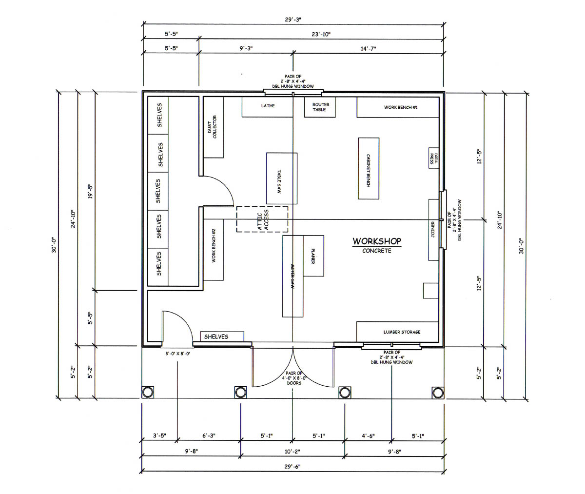 Woodworking layout tips with brilliant photo in australia for Workshop floor plans