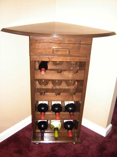 Wine rack cabinet corner show us your stuff corner wine rack design