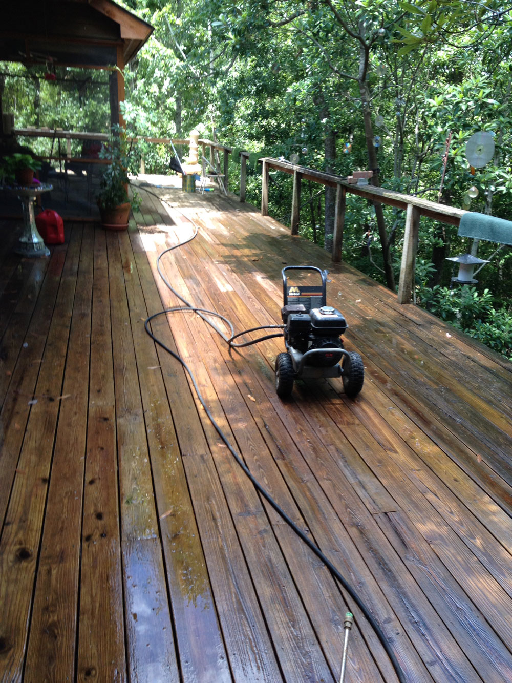 Pressure Washing And Leftover Paint Sticks In The Mud Woodshop Our Despite Bugs Heat Life On Bayou Requires That One Love Outdoors As A Result We Have Acres Of Deck Space Around Home Front Back