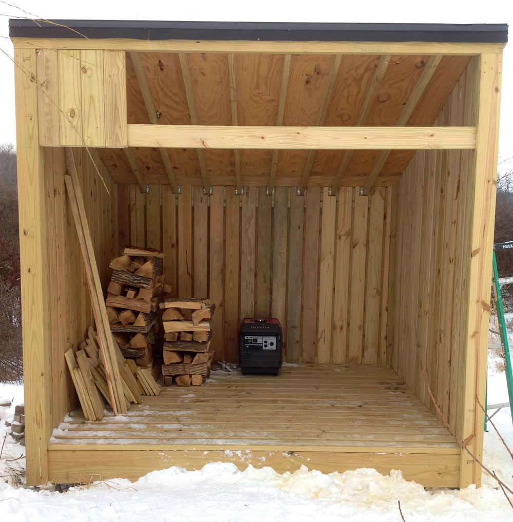 Building a 3 sided farm woodshed jon rubin for Three sided shed plans