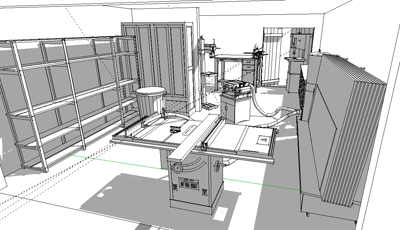 Shop layout using sketchup and the 3d warehouse for How to design a floor plan in sketchup